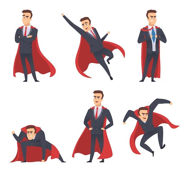 Geschäftsmann superhelden. stehende fliegende aktion des roten mantels der bürovorsteher-direktorenarbeitskräfte wirft superheldcharaktere auf Premium Vektoren