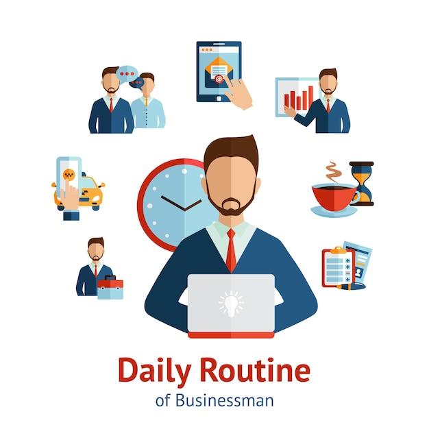 Geschäftsmann täglich routine konzept poster Kostenlosen Vektoren