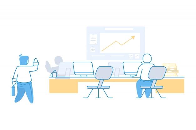 Geschäftsmann und coworking bürokonzeptillustration Premium Vektoren