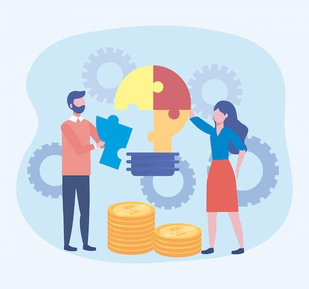 Geschäftsmann und geschäftsfrau mit puzzlespielbirnenidee Kostenlosen Vektoren