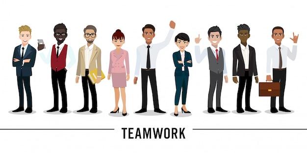 Geschäftsmann- und geschäftsfrauzeichentrickfilm-figur teamwork Premium Vektoren