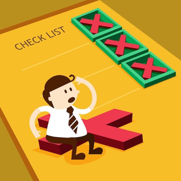 Geschäftsmann- und kreuzkennzeichen im checklistenkasten Premium Vektoren