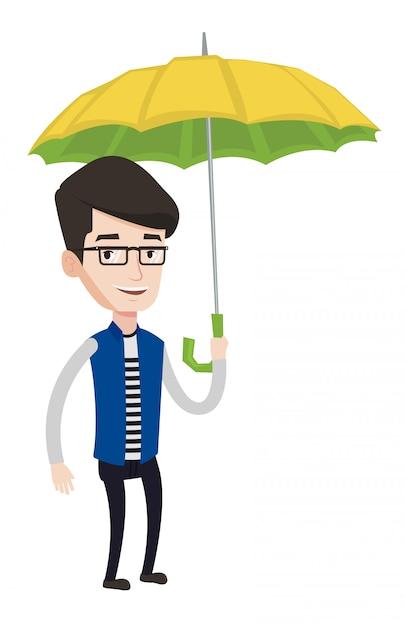 Geschäftsmann versicherungsvertreter mit regenschirm. Premium Vektoren
