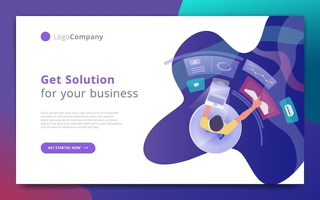 Geschäftsmann verwalten und studieren die infografik-website-vorlage Premium Vektoren