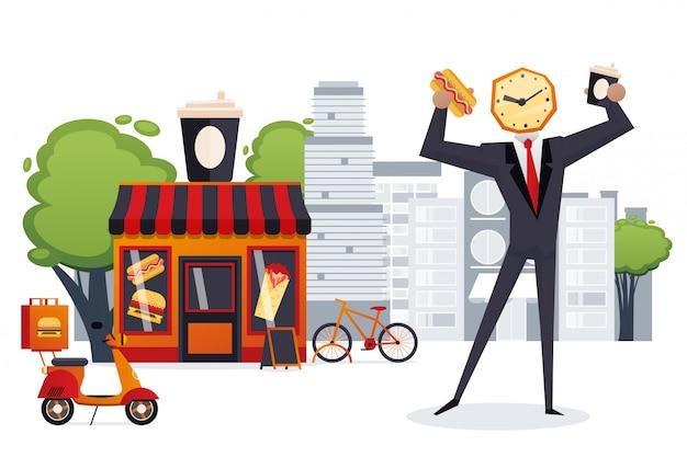Geschäftsmann wachkopf haben schnellen snack in der restaurantillustration. fast-food-stadtcafé für vielbeschäftigte menschen charakter, hot dog Premium Vektoren