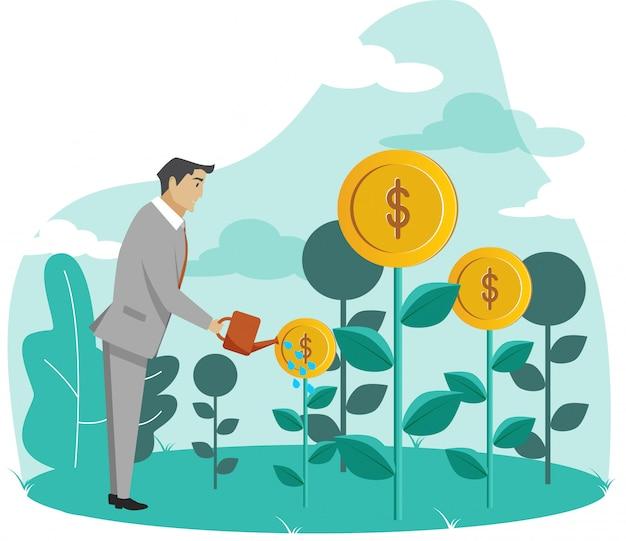 Geschäftsmann watering moneys plants Premium Vektoren