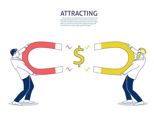 Geschäftsmann wettbewerbsfähig zieht geld mit einem großen magneten an. Premium Vektoren