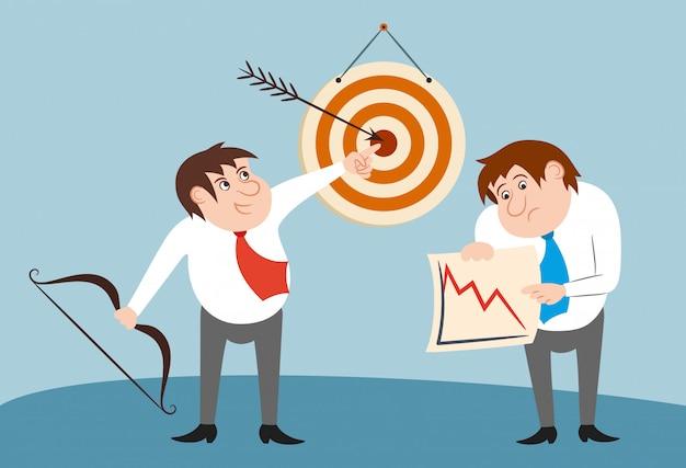 Geschäftsmann zeichen gewinner und verlierer konzept Kostenlosen Vektoren