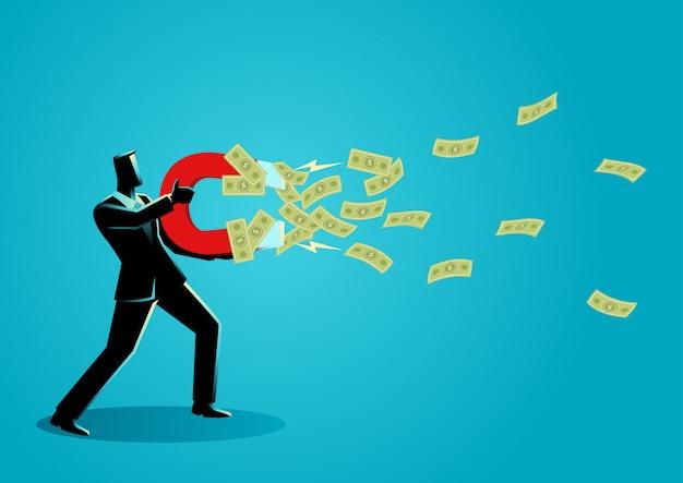 Geschäftsmann zieht geld mit einem großen magneten an Premium Vektoren