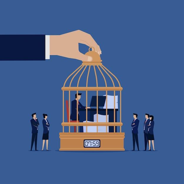 Geschäftsmannarbeit über den käfig, der durch manager aufpasst. Premium Vektoren