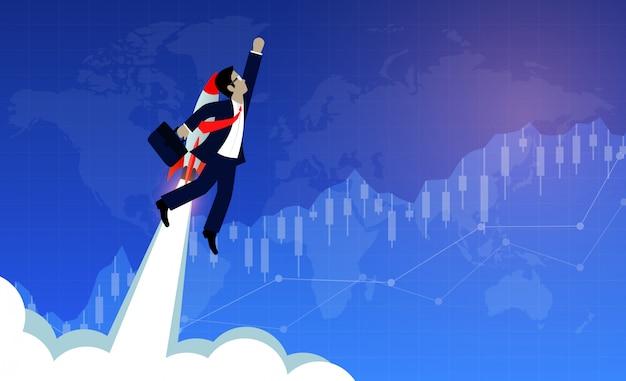 Geschäftsmannfliegen mit raketentriebwerken vorwärts zum ziel Premium Vektoren