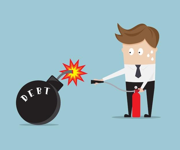 Geschäftsmanngebrauchsfeuerlöscher für haltschuldbombe Premium Vektoren