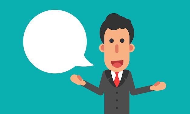 Geschäftsmanngespräch mit spracheblase Premium Vektoren