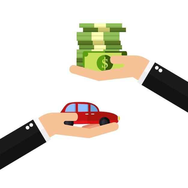 Geschäftsmannhände, die auto kaufen Premium Vektoren