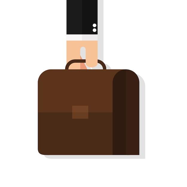 Geschäftsmannhand, die aktenkoffer hält Premium Vektoren