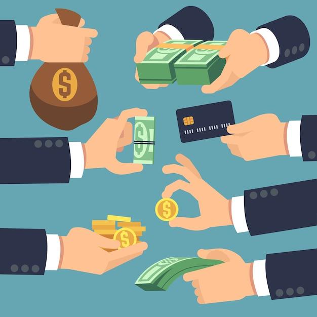 Geschäftsmannhand, die geld hält. flache symbole für darlehen, zahlen und cash-back-konzept. vector geldbargeld, zahlen sie und geben sie illustration Premium Vektoren