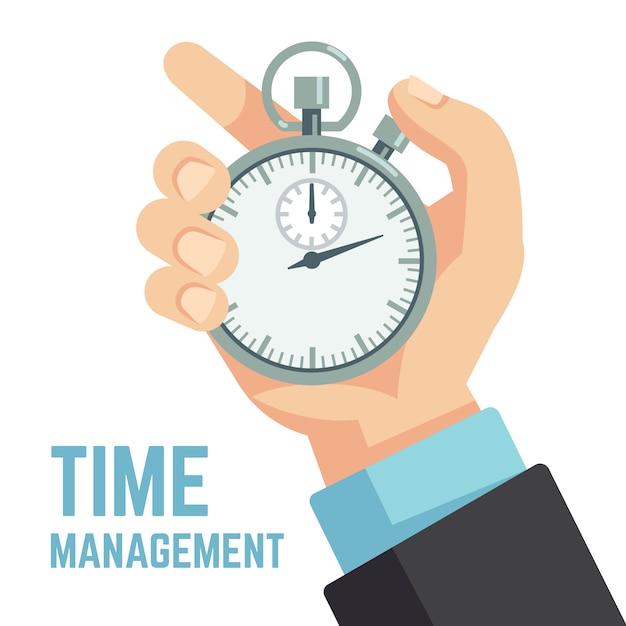 Geschäftsmannhand, die stoppuhr oder uhr hält. frist-, pünktlichkeits- und zeitmanagementgeschäftsvektor Premium Vektoren