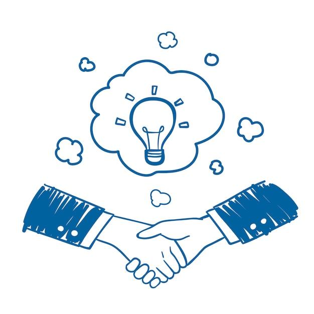 Geschäftsmannhanderschütterung mit gezeichneter art der idee in der hand Premium Vektoren