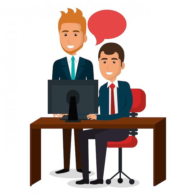 Geschäftsmannteamwork in der büroillustration Kostenlosen Vektoren