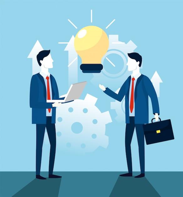 Geschäftsmannteamwork mit birnenideenstrategie Premium Vektoren
