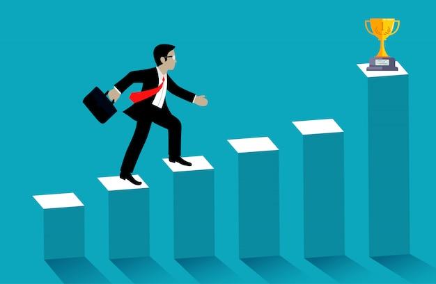 Geschäftsmannweg herauf das balkendiagramm gehen zur trophäe auf blauem hintergrund Premium Vektoren