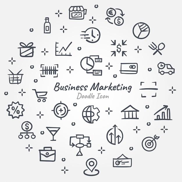 Geschäftsmarketing-gekritzelikonenfahne Premium Vektoren