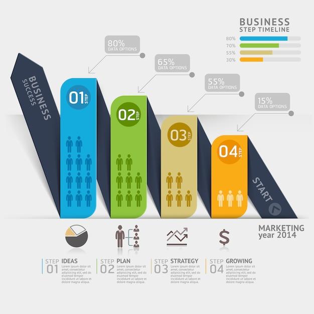 Geschäftsmarketing-pfeilzeitachsenschablone für arbeitsflussplan, diagramm, zahlwahlen, infographic. Premium Vektoren