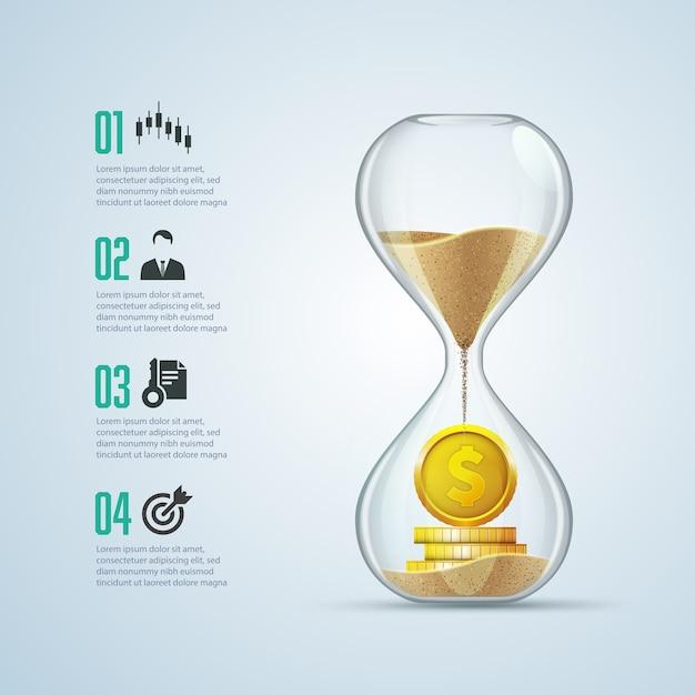 Geschäftsmetapher - zeit ist geld, grafik aus sandglas mit goldenen münzen im inneren Premium Vektoren