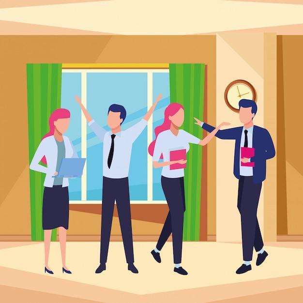 Geschäftsmitarbeiter mit büromaterial Kostenlosen Vektoren