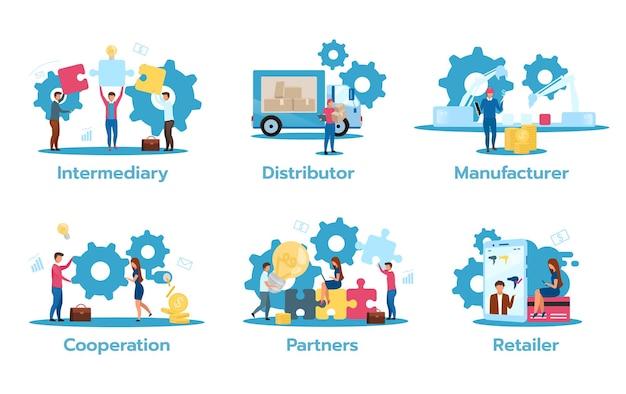 Geschäftsmodell flache illustration isoliert Premium Vektoren