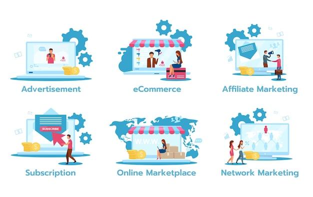 Geschäftsmodell flat set. werbung. e-commerce. affiliate-marketing. abonnement. online-marktplatz. netzwerk-marketing. handelsstrategien. Premium Vektoren