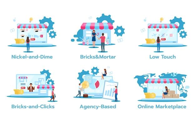Geschäftsmodell wohnung s gesetzt. nickel und cent. ziegel und mörtel. geringe berührung. bricks-and-clicks. agenturbasiert. online-marktplatz. marketing strategien. Premium Vektoren