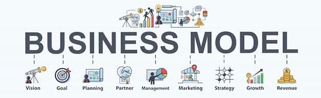 Geschäftsmodellfahnen-netzikone für geschäft und marketing. Premium Vektoren