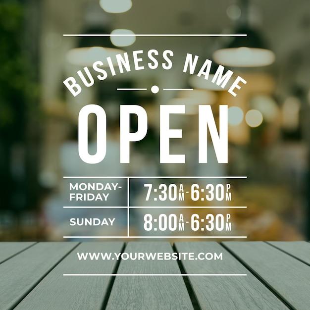 Geschäftsöffnungszeiten mit foto Kostenlosen Vektoren