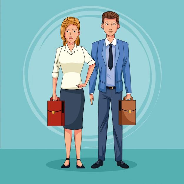 Geschäftspaar-teamarbeit Premium Vektoren