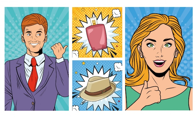 Geschäftspaare mit lotions- und hutpop-artart Premium Vektoren