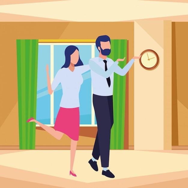 Geschäftspartner erfolgreicher avatar gesichtslosen cartoon Kostenlosen Vektoren