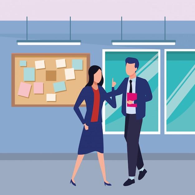 Geschäftspartner mit dokumenten Kostenlosen Vektoren