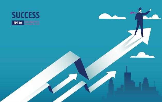 Geschäftspfeilkonzept mit geschäftsmann auf dem pfeil, der zum erfolg fliegt Premium Vektoren