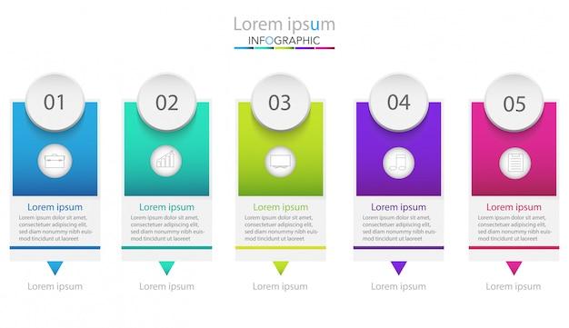 Geschäftsprozessvorlage. timeline-infografiken mit fünf schritten oder optionen. Premium Vektoren