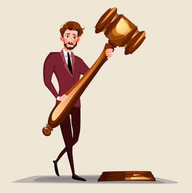 Geschäftsrechtsanwalt, der hölzernen richterhammer hält. Premium Vektoren