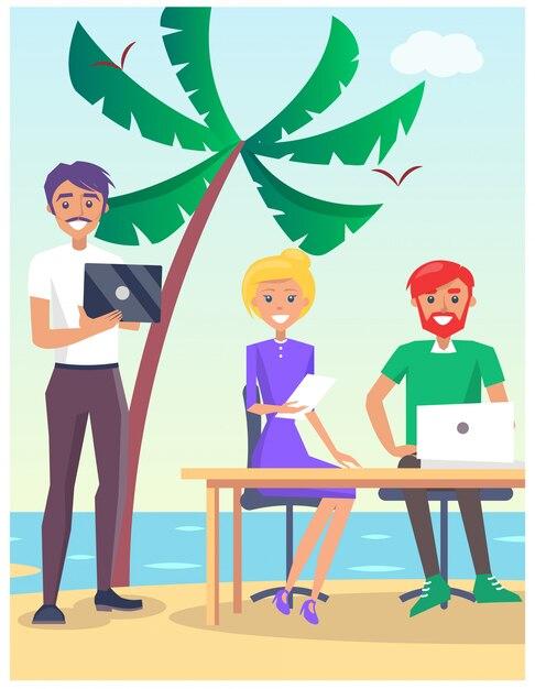 Geschäftsreisende illustration mit den leuten, die am tisch auf dem strand mit modernen computern sitzen Premium Vektoren
