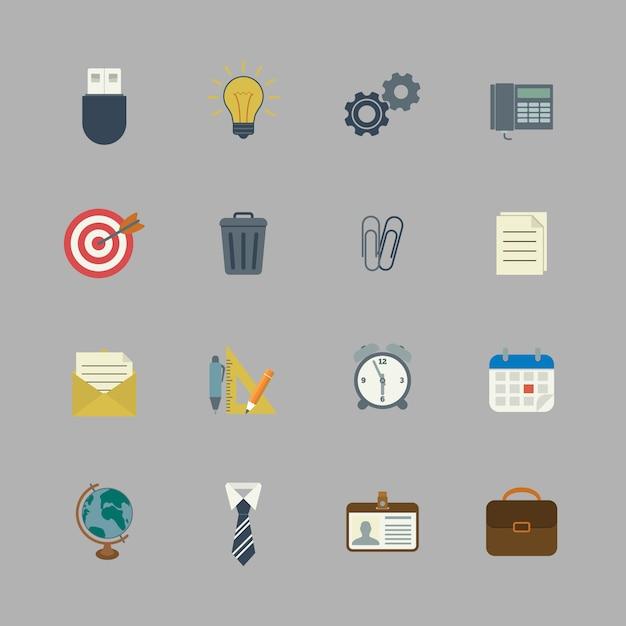 Geschäftssammlung flache briefpapierversorgungen Premium Vektoren
