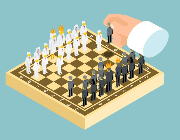 Geschäftsschachfiguren in isometrischer ansicht Premium Vektoren