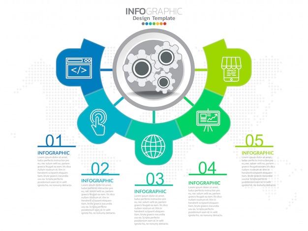 Geschäftsschritt prozessdiagramm infografiken mit schritt. Premium Vektoren