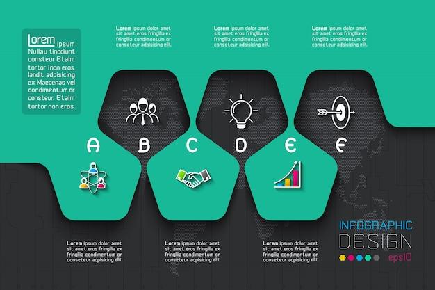 Geschäftsschrittoptionen und abstrakte infografik Premium Vektoren