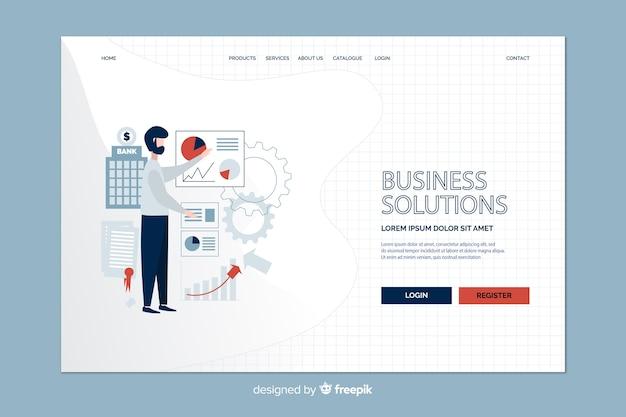 Geschäftsstrategie und man landing page Kostenlosen Vektoren