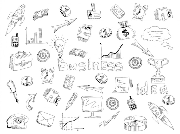 Geschäftsstrategieikonen umreißen skizze Kostenlosen Vektoren