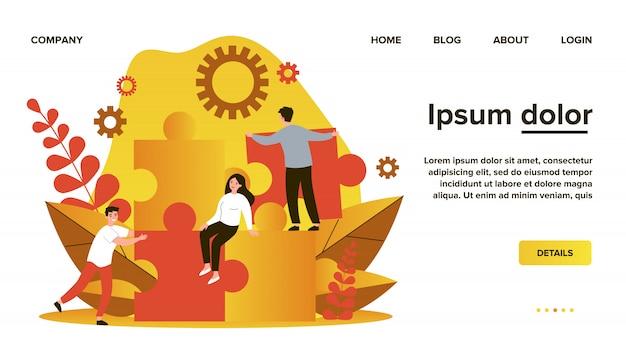 Geschäftsteam beim aufbau einer puzzle-lösung. menschen, die große puzzleteile verbinden. illustration für community, fusion, entdeckung, teamwork-konzept Premium Vektoren