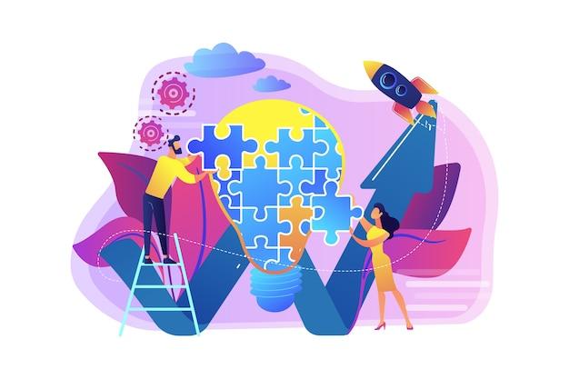 Geschäftsteam, das glühbirne vom puzzle und vom steigenden pfeil tut. kreative idee und einsicht, vorstellung, erfindungskonzept Kostenlosen Vektoren